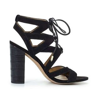Sam Edelman black strappy lace up sandals